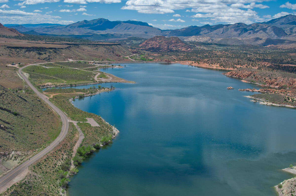 Aerial view of small reservoir.