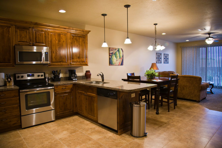 Kitchen and seating area in vacation rental