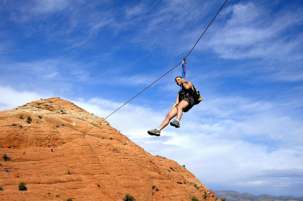 Woman on zipline.