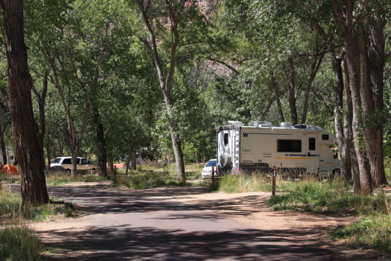 Mountain campground with RV and pine trees