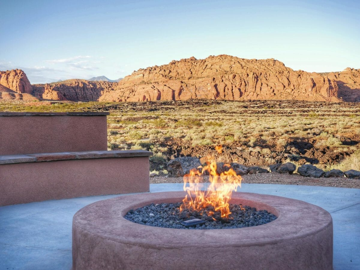 Fire pit at desert resort