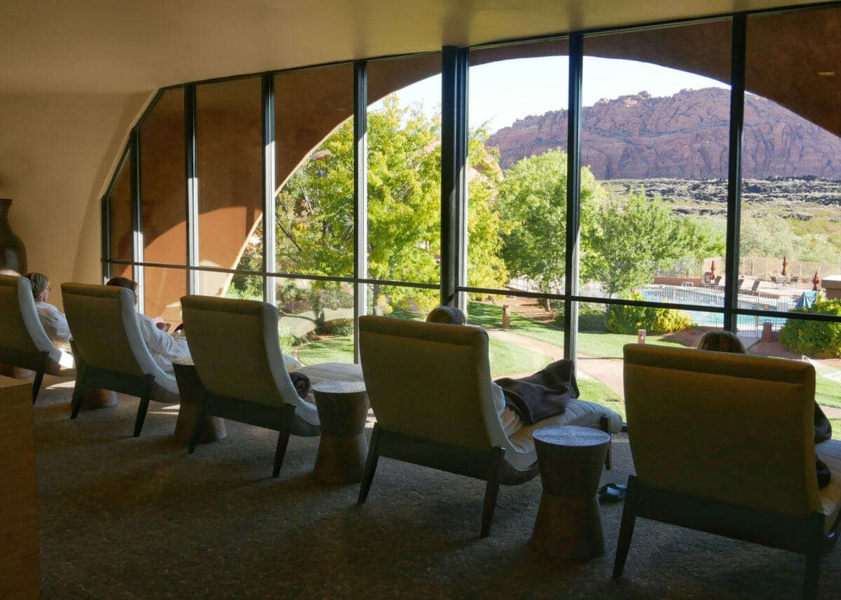 Lounge chairs in spa with picturesque views