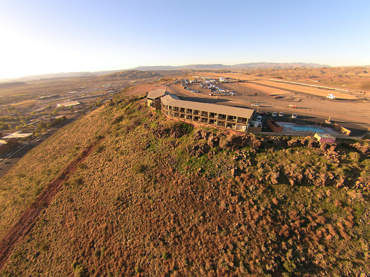 Aerial view of a cliffside hotel