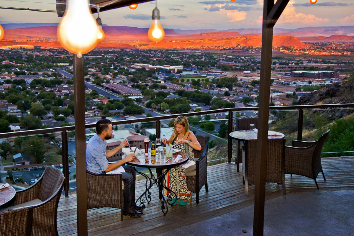 Couple dining on outdoor patio