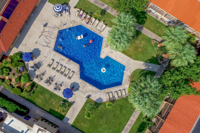Aerial view of geometrically-shaped pool