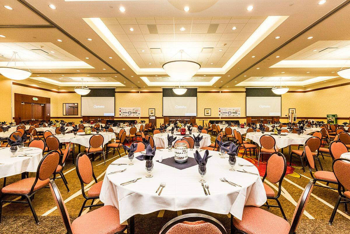 Banquet room set up in hotel