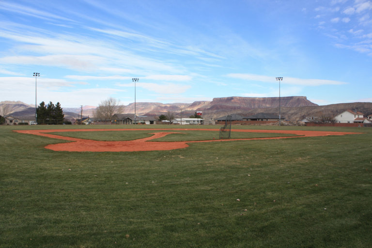 Baseball field with blue sky