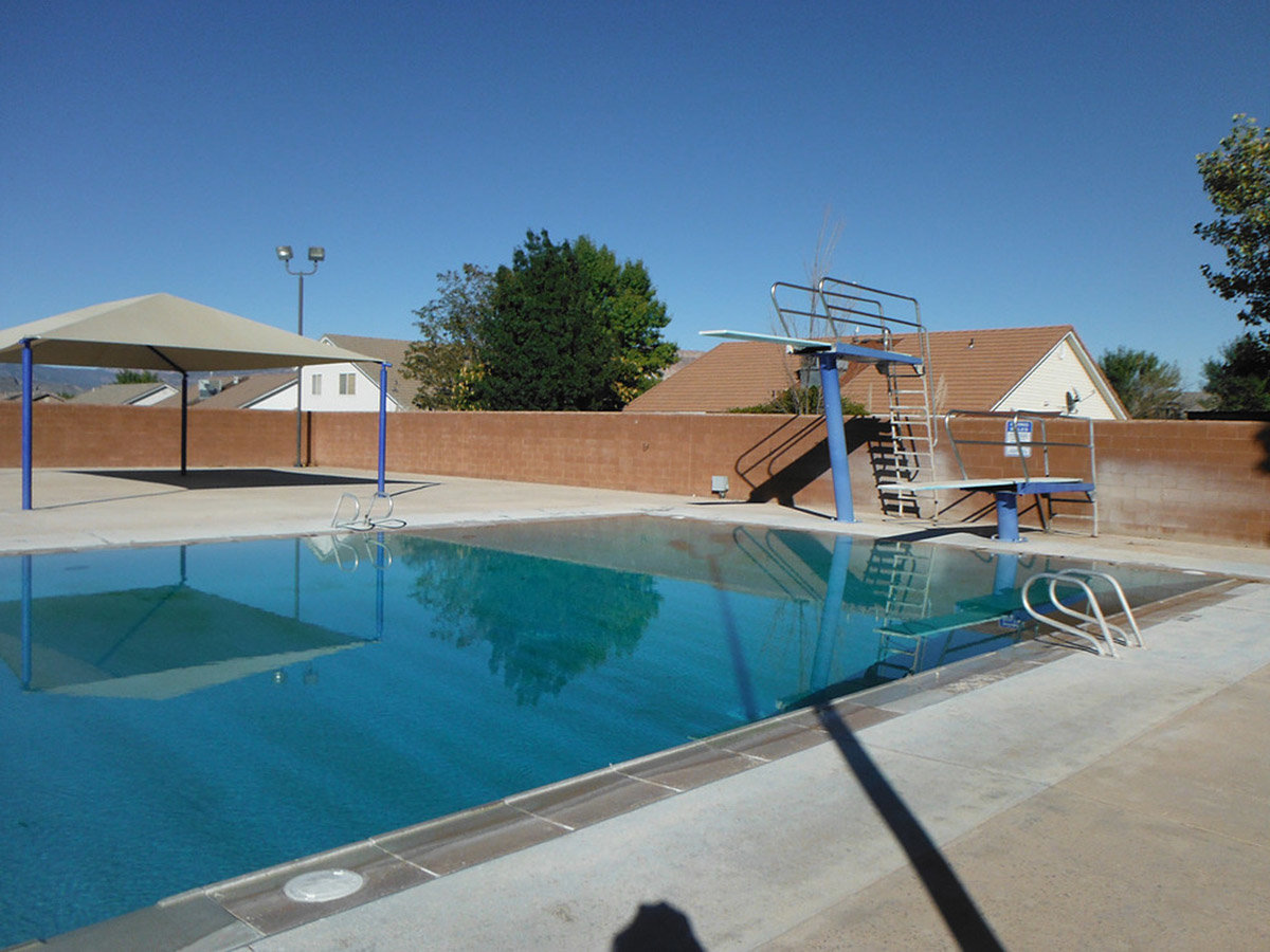 Two diving boards above pool