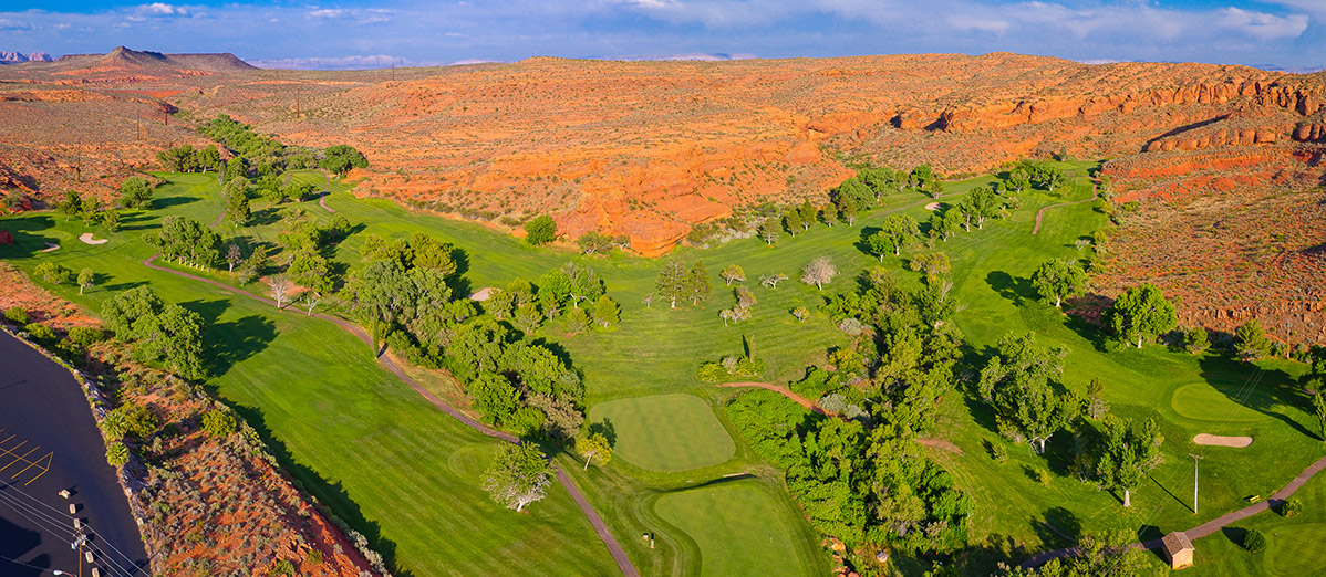Aerial view of desert golf course