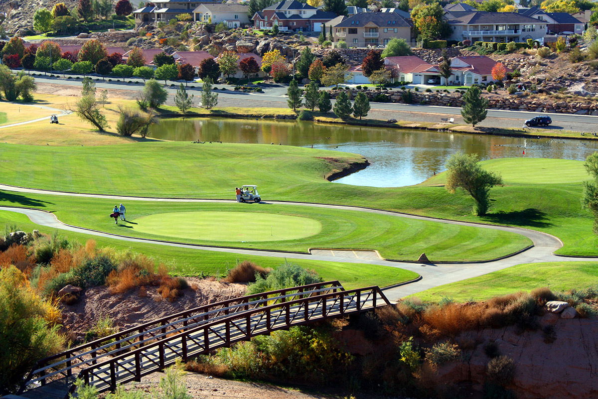 Aerial view of golf course with water