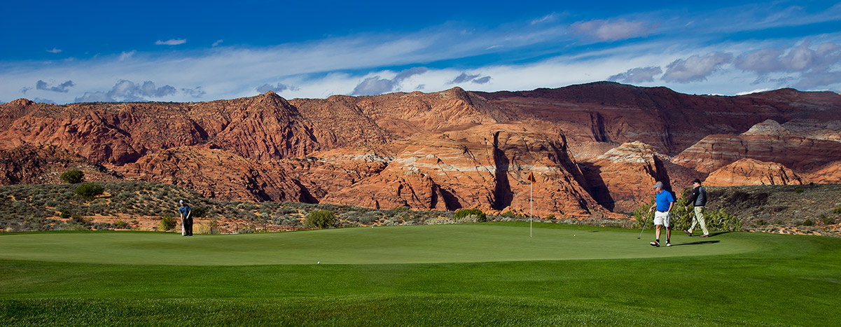Panoramic view of desert golf course