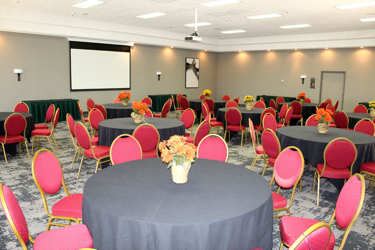 Conference room setting in hotel with red chairs