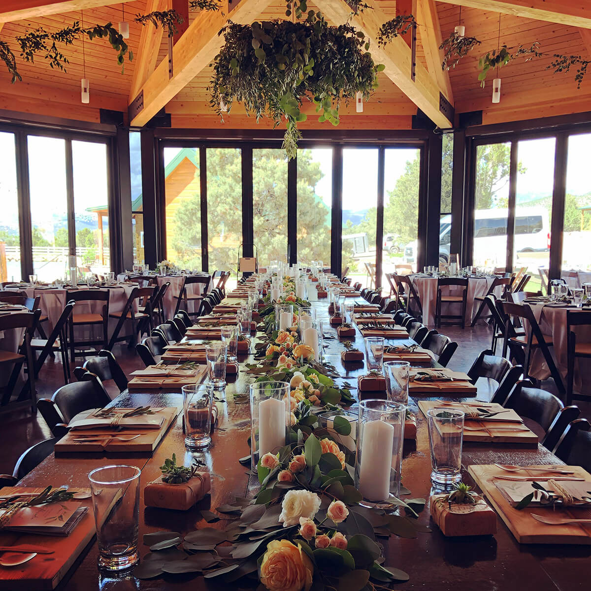 Banquet setting with long table