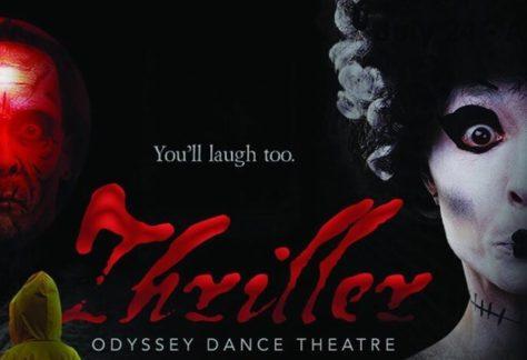 Plakat til teaterforestilling af showet med titlen Thriller
