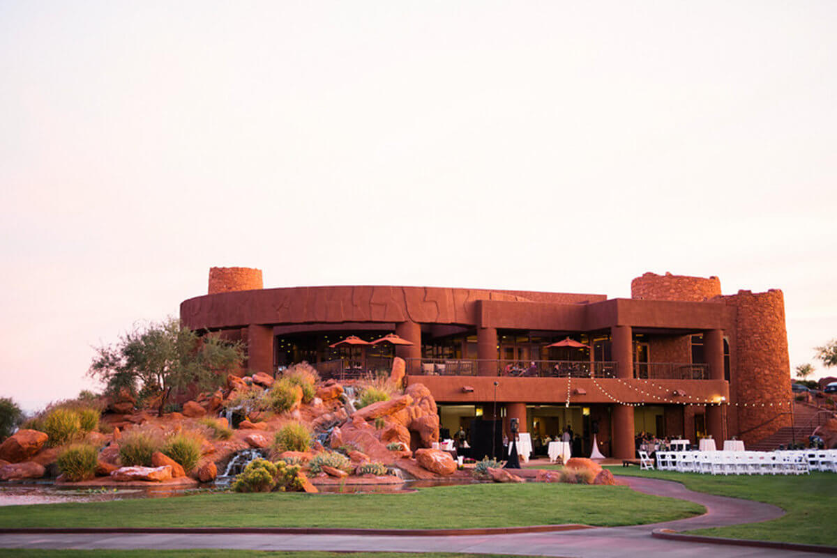 Hotel surrounded by red rock formations