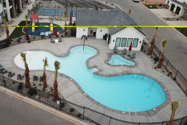 Aerial view of baby blue pool