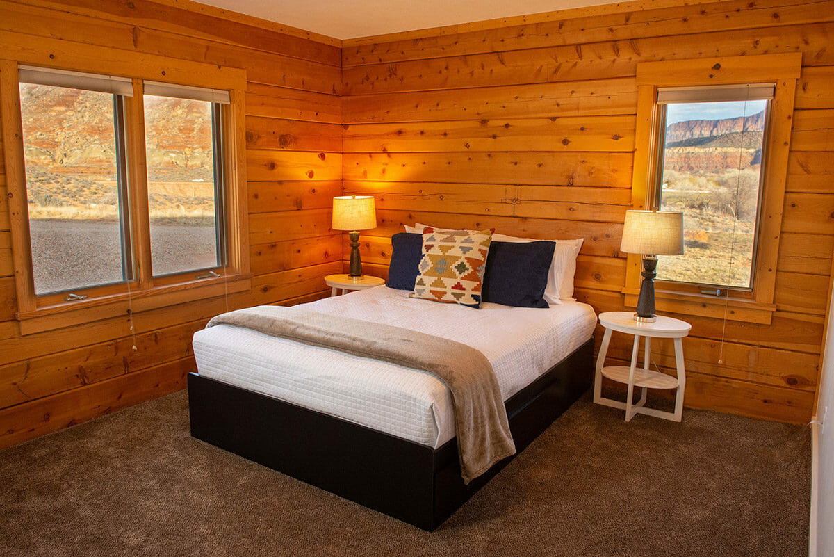 Cabin bedroom with queen