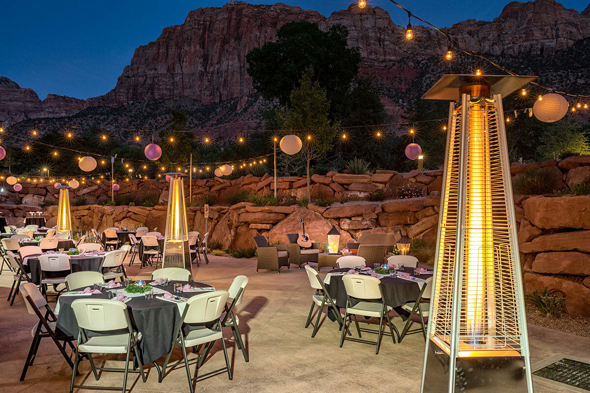 Outdoor event setting with lights