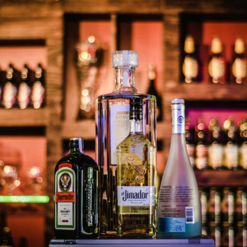Bottles of liquor on bar