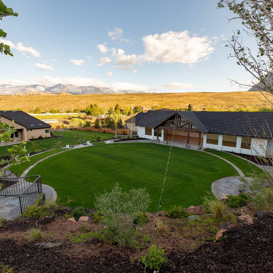 Aerial view of grass courtyard at mountain venue