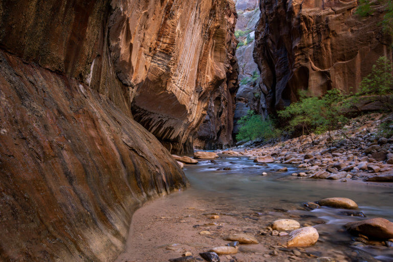 Water flowing through slot canyon