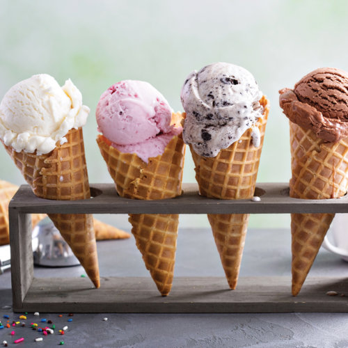 Four ice cream cones