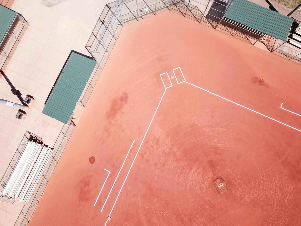 Aerial view of home plate on baseball field