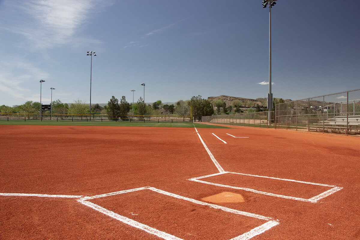 View of baseball field from home plate