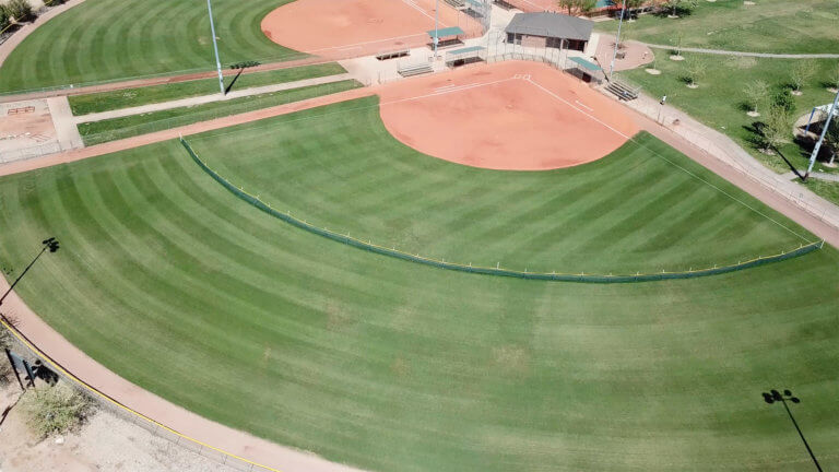 Aerial view of outfield