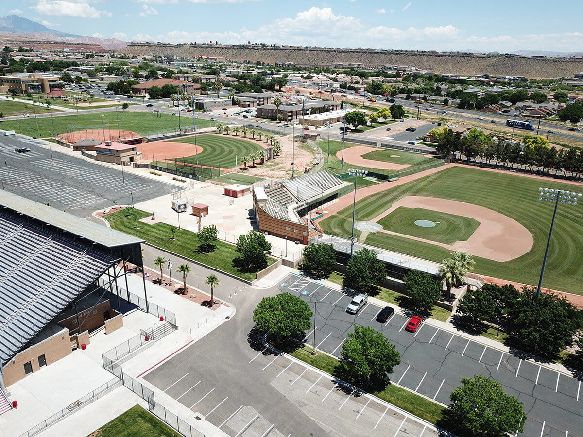 Aerial view of multiple baseball fields