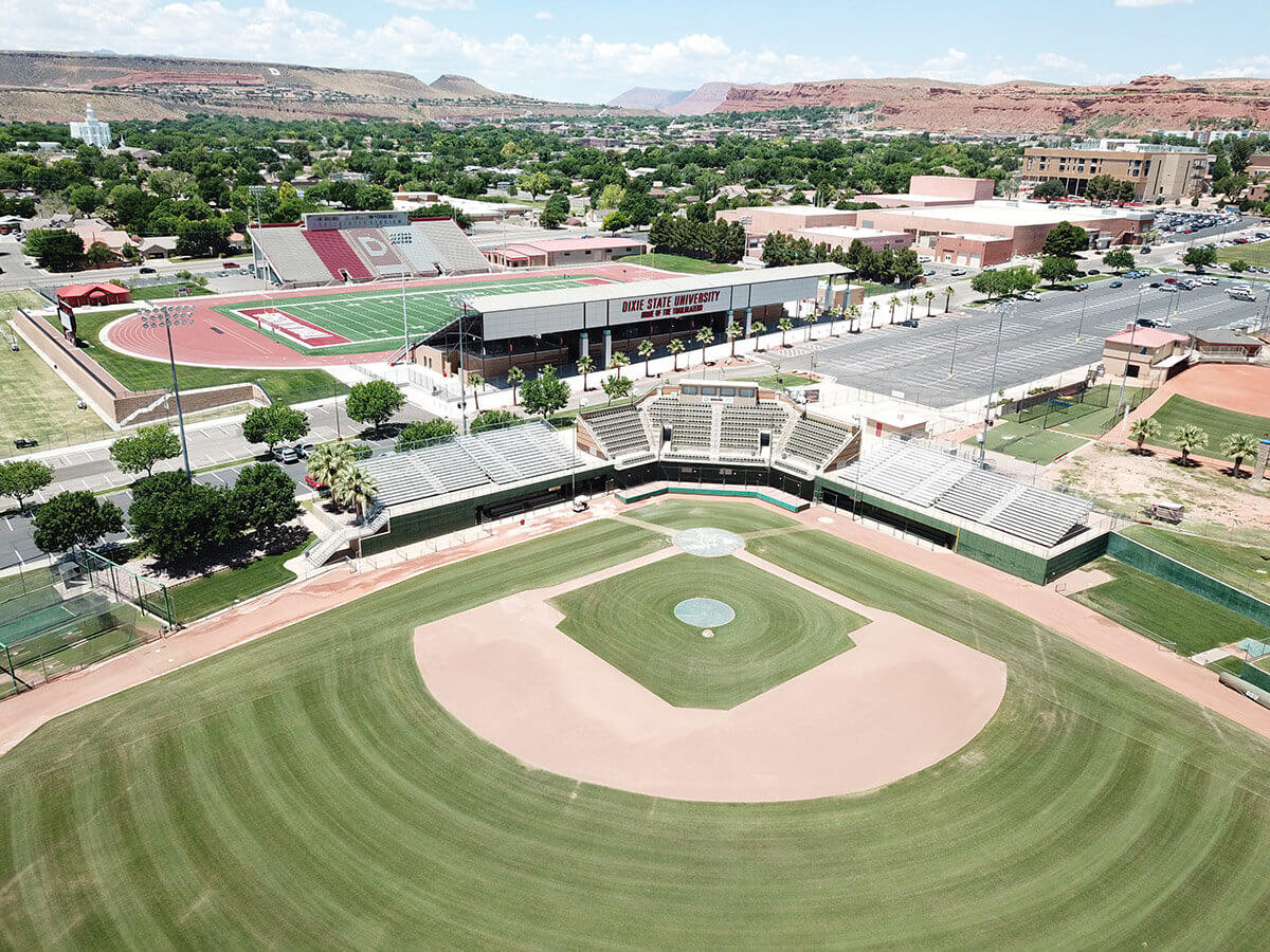 Baseball field with football field in the background