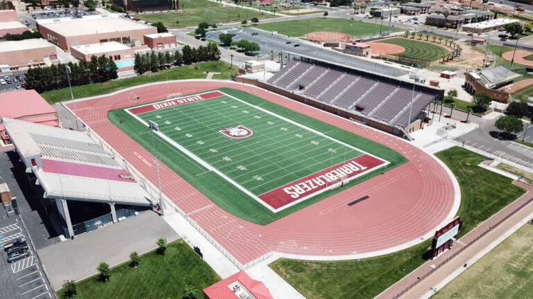 Aerial view of college football stadium