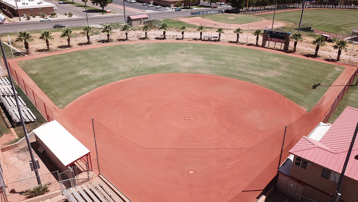 View of baseball field from behind the backstop