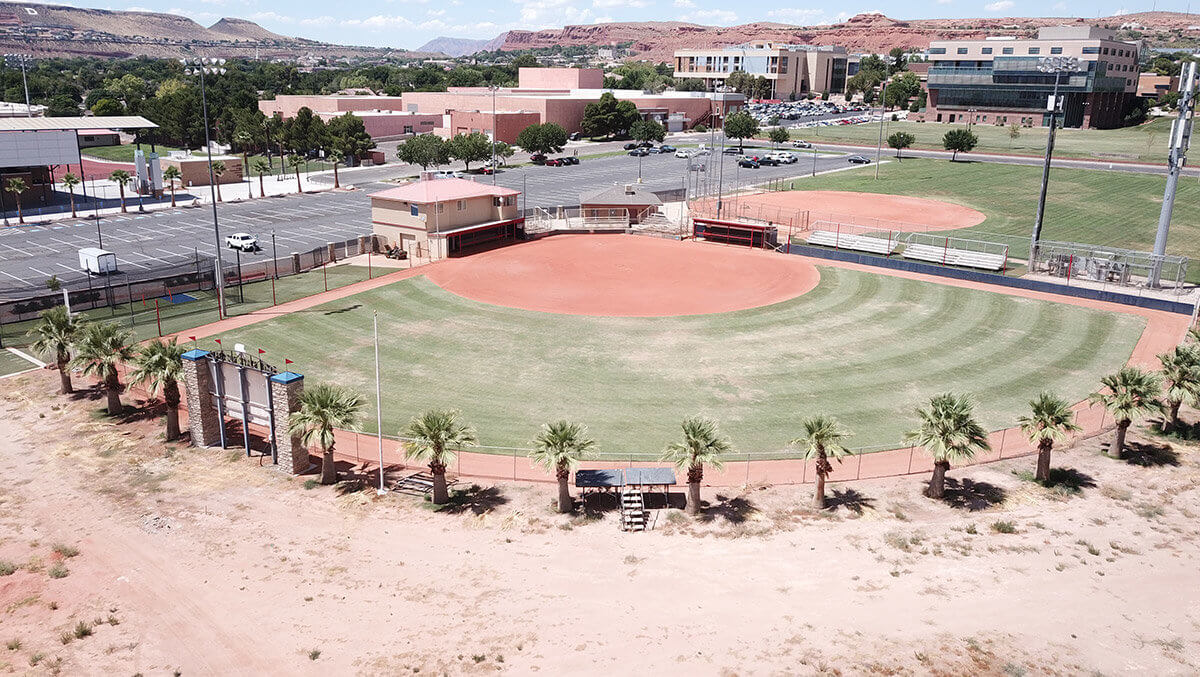 Aerial view of baseball outfield