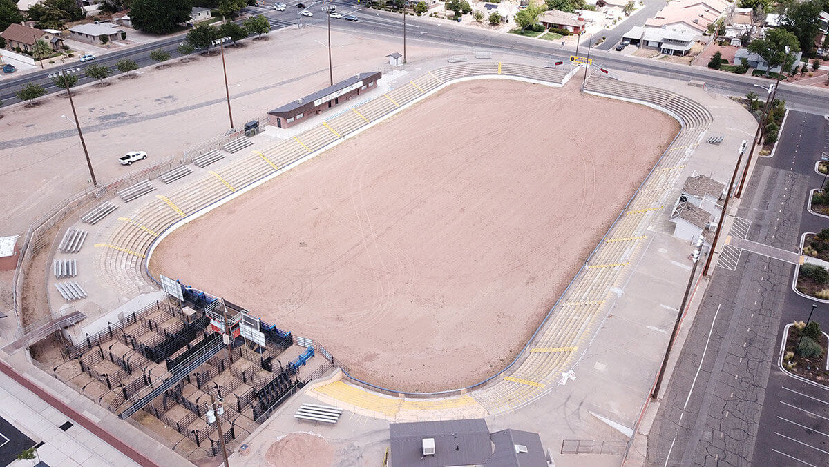 Aerial view of rodeo arena