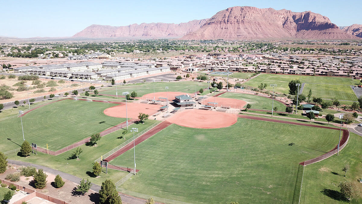 Aerial view of softball complex