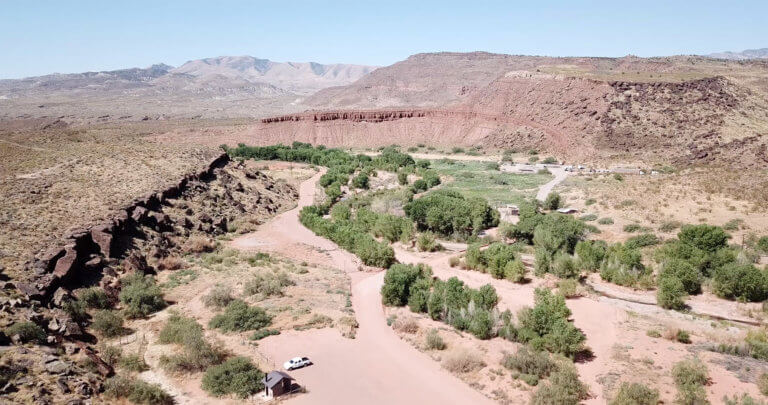 Aerial view of riverside trail system