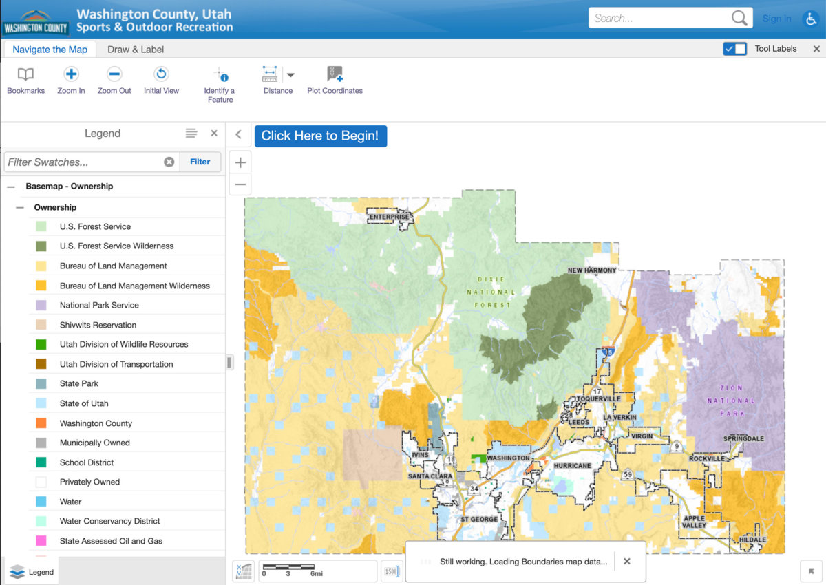 Screenshot of interactive map of Washington County, Utah
