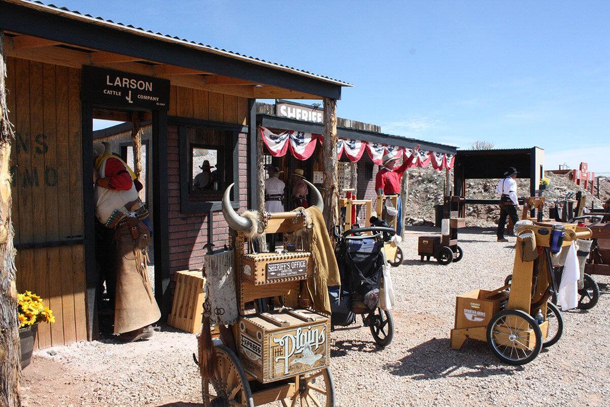 Decorated wooden gun carts