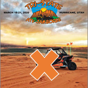 atv on sand with orange x