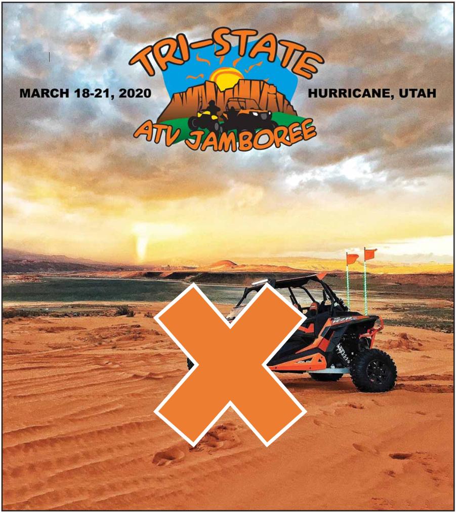 atv on sand with orange x
