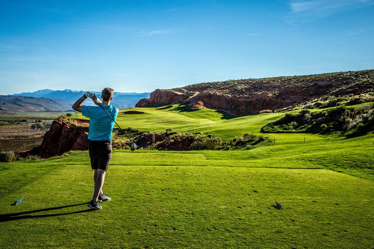 Muški golfer u leđima
