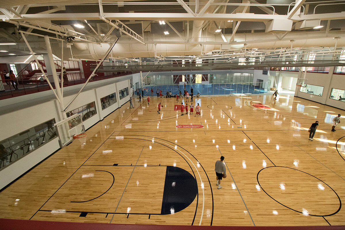 Indoor basketball courts with wood floors
