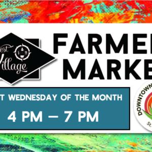 lettere del mercato degli agricoltori su sfondo colorato