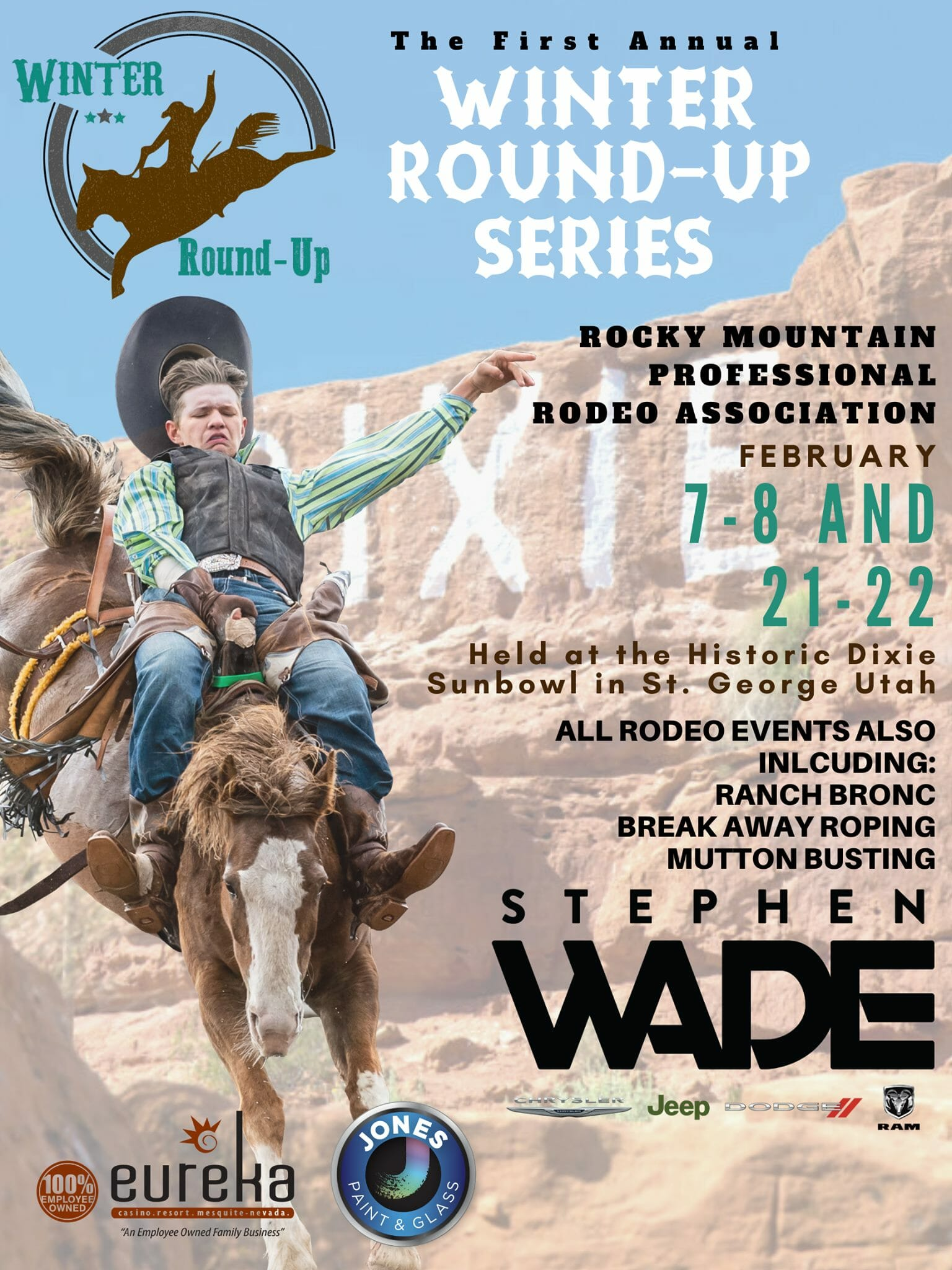 Flyer with Dixie Rock in background and bullrider in foreground