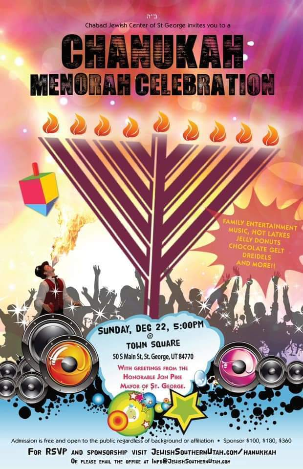 Chanukah flyer with menorah and dradle