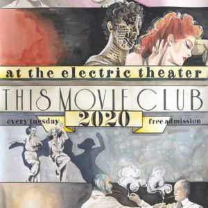 This movie club poster with vintage faces