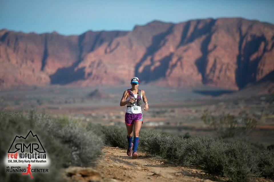 woman running in desert