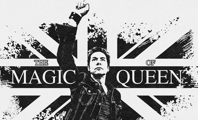 Black and white poster with british flag