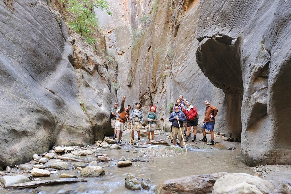 People pointing at canyon walls